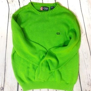 Chaps Lime Green Knit Crew Neck Sweater Large